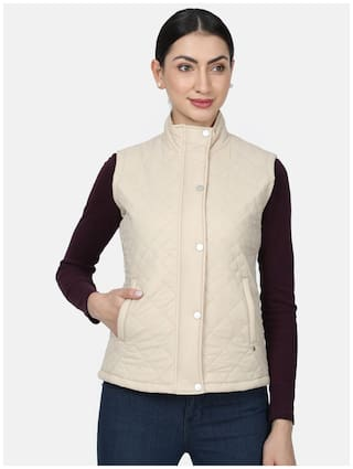 Monte Carlo Women Solid Regular Jacket - Cream
