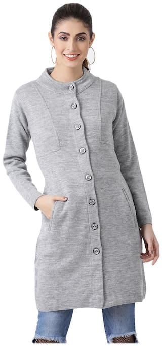 Monte Carlo Women Solid Regular FIt Coat - Grey