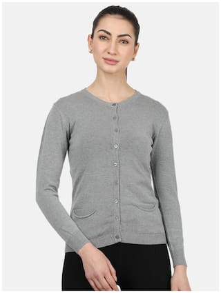 Monte Carlo Women Solid Cardigan - Grey