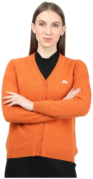 Monte Carlo Women Solid Cardigan - Orange