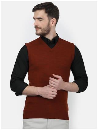 Monte Carlo Men Maroon V neck Front-open sweater
