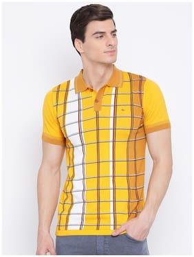Men Polo Collar Checked T-Shirt