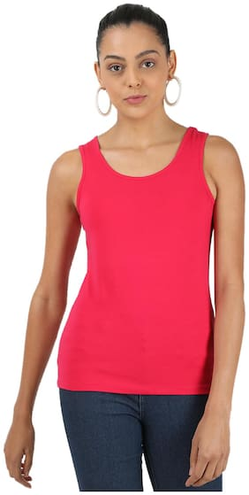 Monte Carlo Cotton Pink Solid Camisoles & Slips  For Women