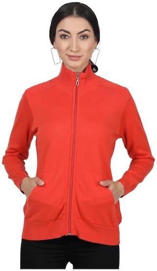 Monte Carlo Women Solid Cardigan - Orange