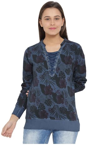 Monte Carlo Women Printed Sweatshirt - Blue