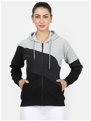 Monte Carlo Women Colourblocked Hoodie - Grey