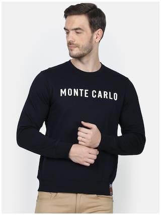 Monte Carlo Mens Navy Blue Printed Cotton Blend Sweatshirt