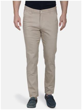 Monte Carlo Men Beige Solid Slim fit Regular trousers