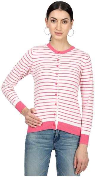 Monte Carlo Women Solid Cardigan - Pink