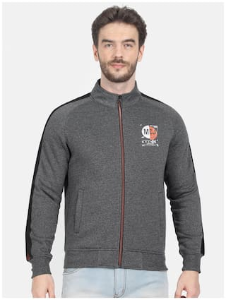 Monte Carlo Men Cotton Blend Grey  Sweatshirt