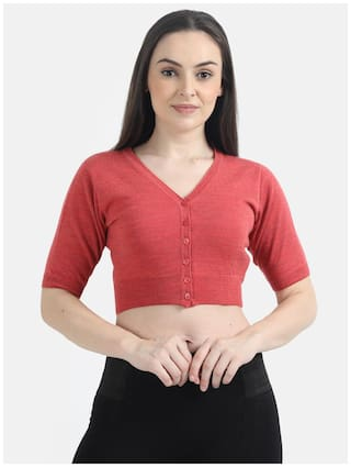 Monte Carlo Women Solid Sweater - Red