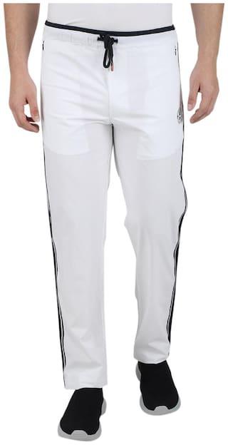 Monte Carlo Men White Solid Slim fit Track pants