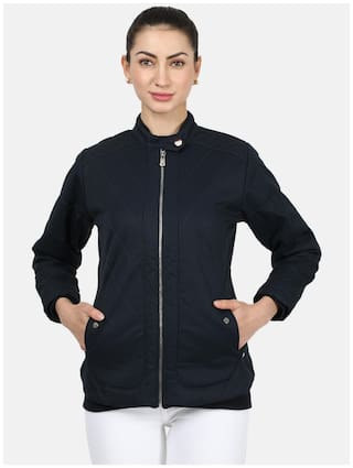 Monte Carlo Cotton Navy blue Solid Bomber Jacket  For Women