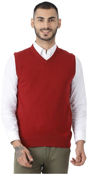 Men Wool Blend Sleeveless Sweater