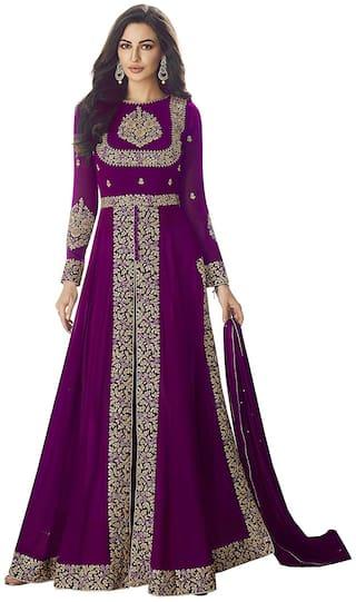 Mordenfab.Com Womens Purple Georgette Embroidered Semi Stitched Anarkali Salwar Kameez