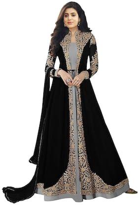Mordenfab.Com Womens Black Satin Embroidered Semi Stitched Anarkali Salwar Kameez
