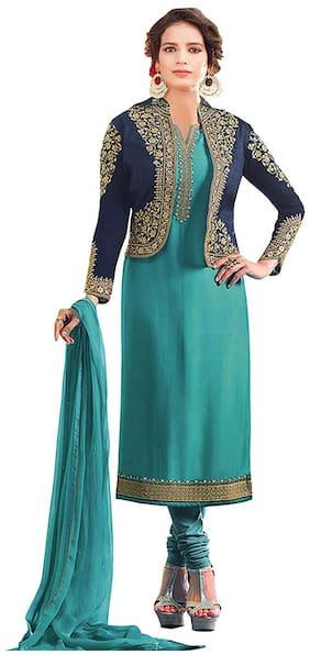 Mordenfab.Com  Women Satin Embroidered Blue  Dress Material