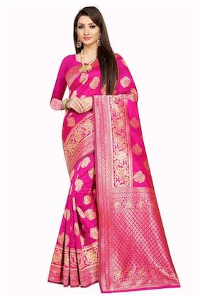 Mordenfab.Com Women Pink Jacquard Woven Saree