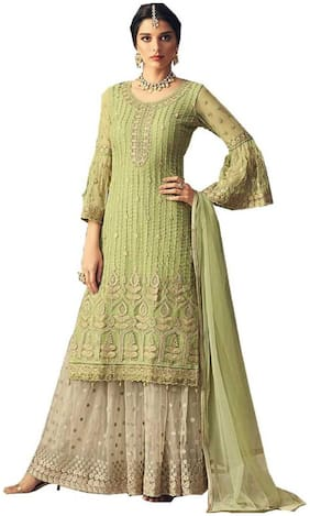 Mordenfab.Com  Women Net Embroidered Green  Dress Material