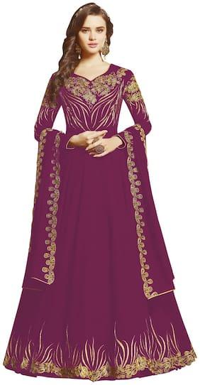 Mordenfab.Com Women Purple Anarkali Kurta With Bottom & Dupatta