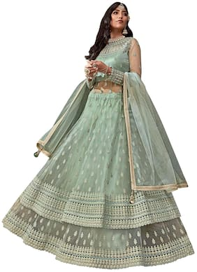 Mordenfab.Com Mordenfab Womens Green Heavy Net Embroidered Semi Stitched Gown