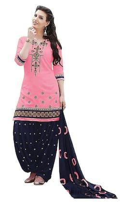 Mordenfab.Com Cotton Blend Pink Kurta with Bottom & Dupatta  For Women