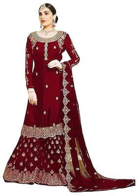 Mordenfab.Com  Women Poly Georgette  Red  Dress Material
