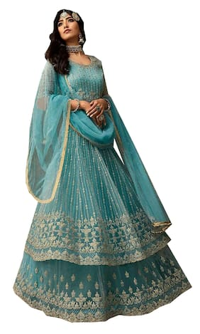 Mordenfab.Com Mordenfab Womens Blue Heavy Net Embroidered Semi Stitched Gown