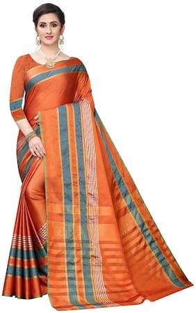 Mordenfab.Com Jacquard Orange Striped Saree For Women