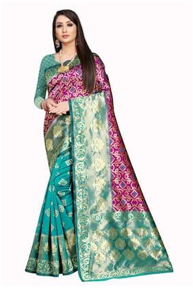 Mordenfab.Com Jacquard Woven Blue & Pink Saree For Women