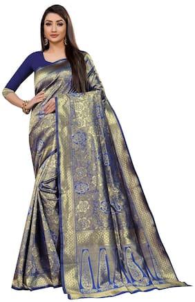 Mordenfab.Com Women Jacquard Woven Blue Blue With Blouse