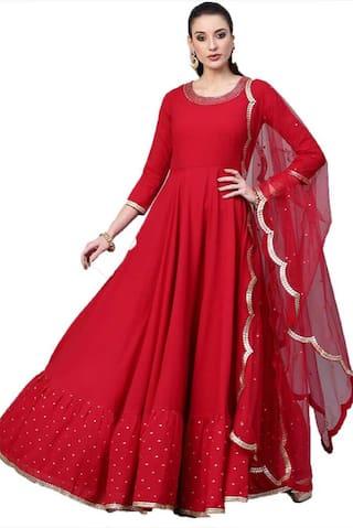 Mordenfab.Com Womens Red Georgette Embroidered Semi Stitched Anarkali Salwar Kameez