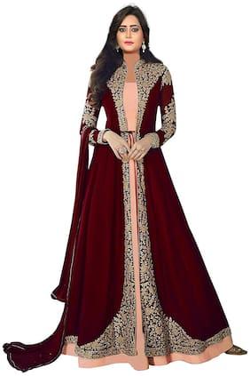 Mordenfab.Com Womens Maroon Satin Embroidered Semi Stitched Anarkali Salwar Kameez