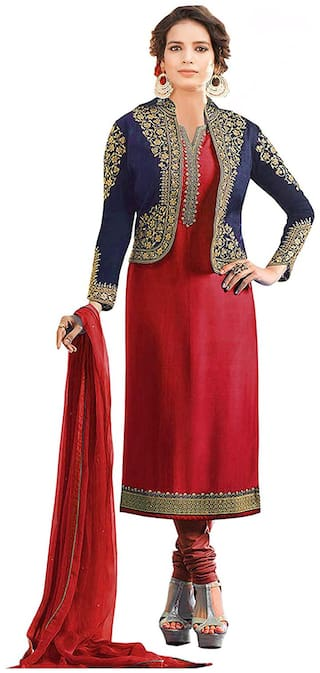 Mordenfab.Com  Women Satin Embroidered Red  Dress Material