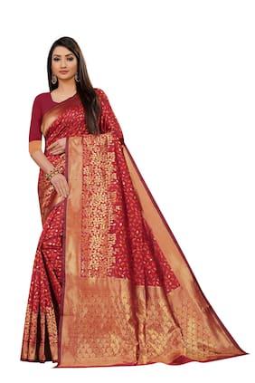 Mordenfab.Com Women's Jacquard Banarasi Silk Saree With Blouse Piece (Red)