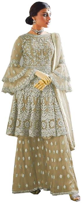 Mordenfab.Com  Women Net Embroidered Cream  Dress Material