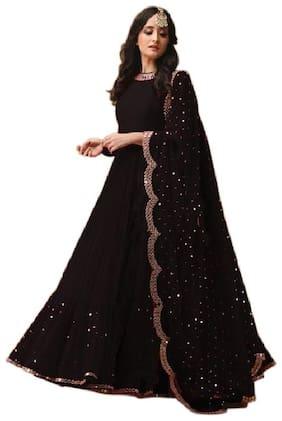 Mordenfab.Com Womens Black Georgette Embroidered Semi Stitched Anarkali Salwar Kameez