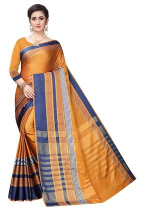 Mordenfab.Com Jacquard Yellow Striped Saree For Women