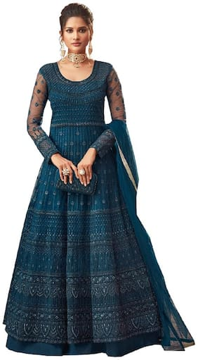Mordenfab.Com Women Blue Net Embroidered Work Anarkali Kurta With Bottom & Dupatta