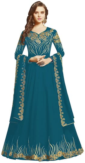 Mordenfab.Com Women Turquoise Anarkali Kurta With Bottom & Dupatta