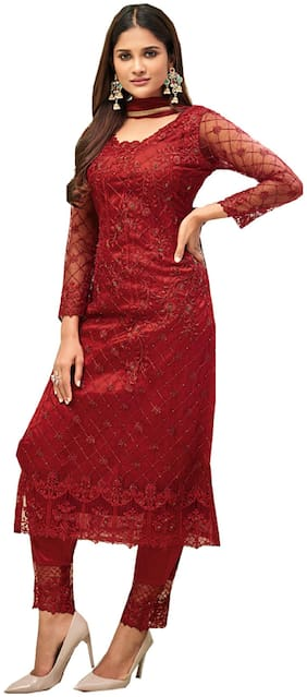 Mordenfab.Com Womens Red Net Embroidered Semi Stitched Dress Material