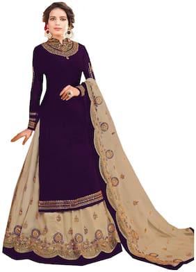 Mordenfab.Com  Women Poly Georgette  Purple  Dress Material