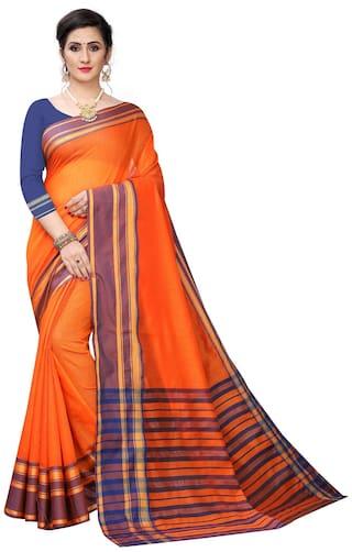 Mordenfab.Com Jacquard Solid Orange Color Banarasi Saree with Blouse Piece