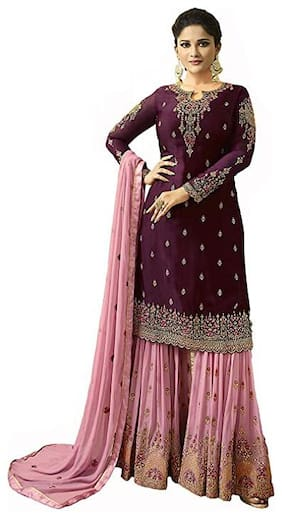 Mordenfab.Com  Women Poly Georgette Embroidered Purple  Dress Material