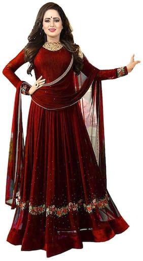Mordenfab.Com Women's Red Georgette Embroidered Semi Stitched Anarkali Salwar Kameez