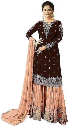 Mordenfab.Com  Women Poly Georgette  Maroon  Dress Material