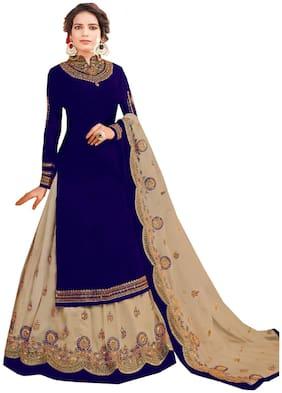 Mordenfab.Com  Women Poly Georgette  Blue  Dress Material