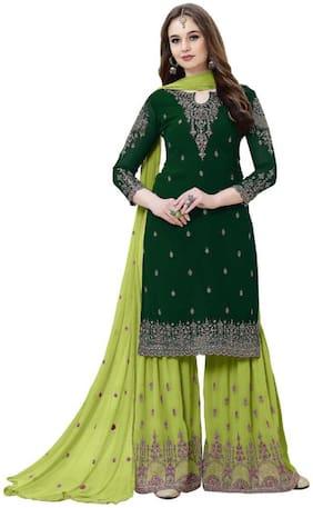 Mordenfab.Com  Women Poly Georgette  Green  Dress Material