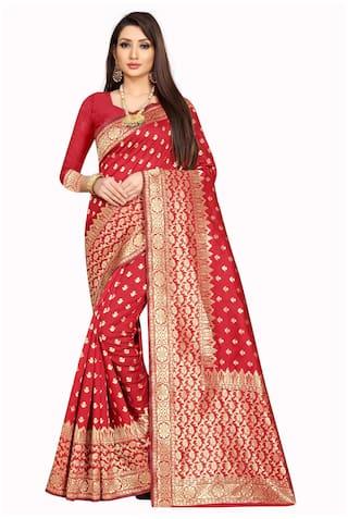 Mordenfab.Com Jacquard Red Woven Designer Saree  For Women