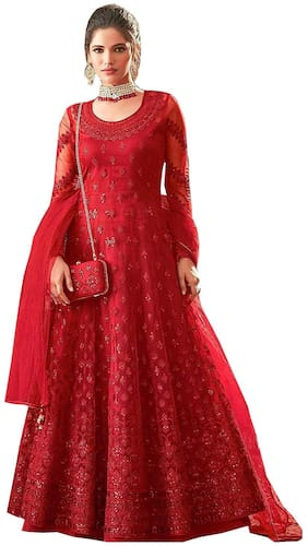 Mordenfab.Com Women Red Net Embroidered Work Anarkali Kurta With Bottom & Dupatta